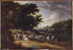 Lodewijk XIV in een staatsiekoets met zijn hofhouding bij een bosrand