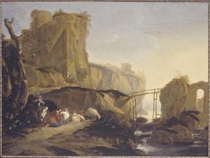 Zuidelijk landschap met fluitspelende herder en melkende vrouw bij hun kudde