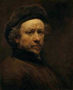 Zelfportret met baret en opstaande kraag