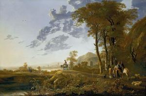 Landschap bij avond met herders en ruiters