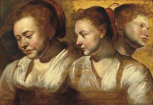 Drie studiekoppen van een vrouw