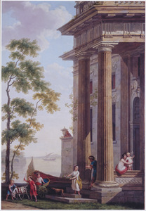 Familiegroep op een bordes van gebouw aan de waterkant