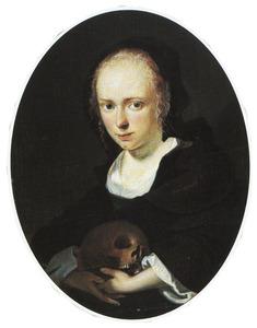 Posthuum portret van Cornelia Bouwers, echtgenote van de schilder, met een schedel