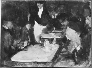 Het restaurant 'Mille colonnes' bij avond