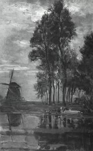 Windmill near tall trees with woman at the wash stoop