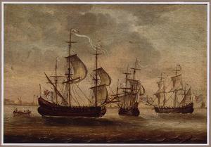 Engelse schepen voor de kust