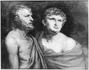 Dubbelportret van Seneca (?-65) en Nero (37-68)