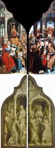 Jean Poitiers en zijn familie (binnenzijde links); Paus Sixtus IV kondigt het dogma van de Immaculata Conceptio af (binnenzijde rechts); De H. Anna deelt aalmoezen uit (buitenzijde links); Het offer van Joachim (buitenzijde rechts)