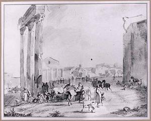 Paardenmarkt op het Campo Vaccino (Forum Romanum) te Rome