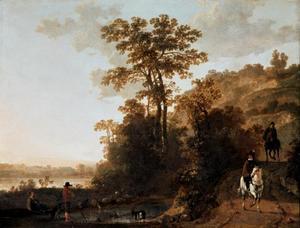 Berglandschap met ruiters en herders op een weg langs een rivier