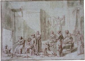 Figuren in een interieur