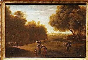 Arcadisch landschap met enkele figuren