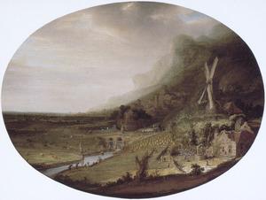 Weids berglandschap met een windmolen en een boerderij