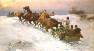 Soldaten trekken door de sneeuw