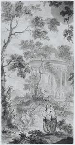 Ontwerp voor een behangselvlak met een arcadisch landschap met tempel en hebgelaars