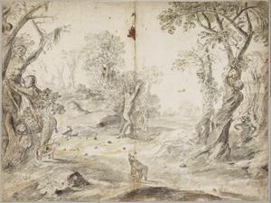 Landschap met in bomen veranderende figuren