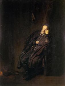Een oude man slapend bij het vuur, mogelijk  'De Luiheid'