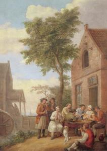 Kaartspelers en muzikanten voor een herberg