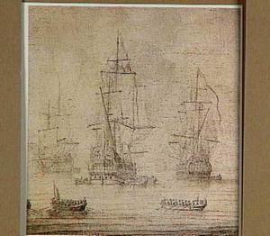 Drie Engelse schepen in een stil water