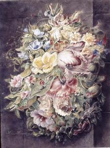 Festoen van bloemen hangend aan een nagel, tegen een muur