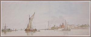 Dordrecht, tussen Groothoofd en Riedijkse Poort; links het veerhoofd van Papendrecht en de ruïne van Huis te Merwede