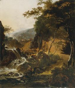 Italianiserend berglandschap met herders en vee bij een waterval