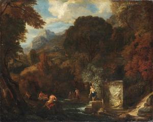 Italianiserend berglandschap met figuren bij een beek