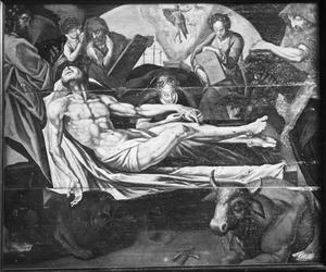 Dode Christus met de vier evangelisten