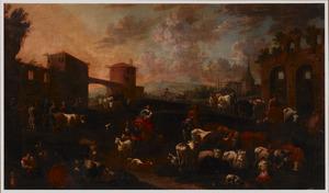 Veemarkt bij Romeinse ruïnes