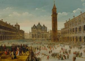 Carnaval op het Piazza di San Marco in Venetië