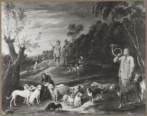 Landschap met jagers en hun honden