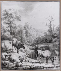 Drenkplaats met koeien en een amoureus paar met bloemenkrans