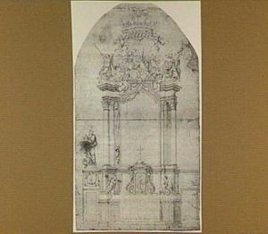 Ontwerp voor een altaar met wapen van abt Cornelis of Alexander Adriaenssens