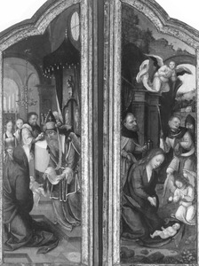 De presentatie in de tempel (links = binnenzijde rechterluik); De aanbidding van de herders (rechts = binnenzijde rechterluik) (op de buitenzijden: de annunciatie)