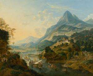 Bergachtig rivierlandschap met wijnoogst