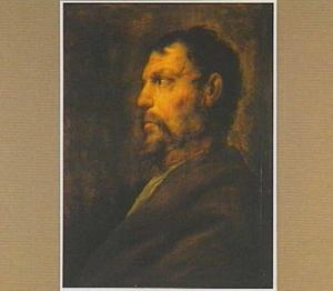 Portret van een baardige oude man in profiel