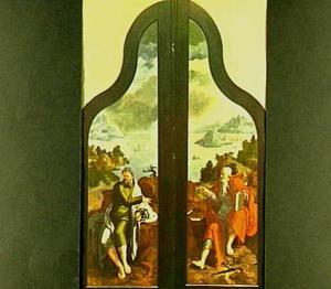 De Heiligen Petrus en Paulus met in de achtergrond de schipbreuk van de Heilige Paulus voor Malta