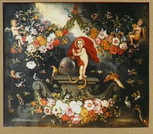 Voorstelling van Christus triomfator omringd door vogels, cherubijnen en guirlandess van bloemen