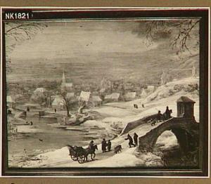 Winterlandschap met reizigers bij een brug