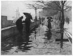 Regen, Thames Embankment, Londen