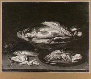 Visstilleven met rivierkreeften