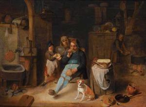 Boereninterieur met gezin met hond