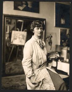 Jeanne Bieruma Oosting in haar atelier op de Rue de Belloni te Parijs