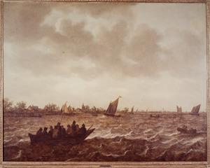 Schepen op de Merwede met in het verschiet Papendrecht en de ruïne van het huis te Merwede