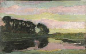 Riverscape with row of trees at left, sky with pink and yellow-green bands: farmstead on the Gein screened by tall trees