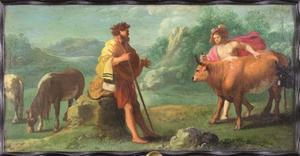Mercurius vraagt Battus om op zijn kudde te passen