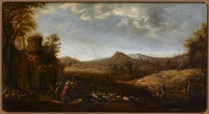 Weids heuvellandschap met bij een ruïne op de voorgrond een voorstelling van Josef door zijn broeders in de put geworpen