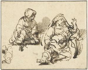 """Twee studies van de zieke vrouw in de """"Honderd Gulden prent"""" (recto)"""