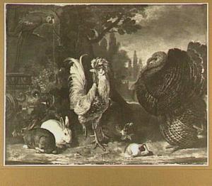 Kippen, konijnen, marmot, papegaai en een kalkoen in een parkachtige tuin