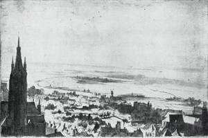 Gezicht over Brugge van het Belfort af en studie van een staand paard (verso)
